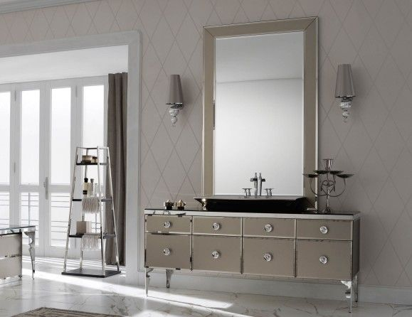 High End Italian Bathroom Vanity Shown In Lacquered Bronze Glass In A 70 9 Width Counter Top