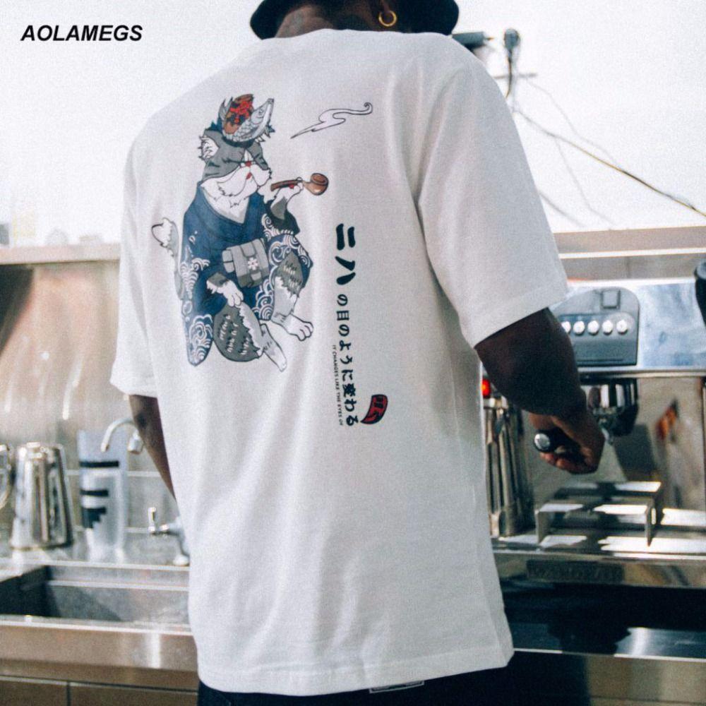 f9aea1f2d Aolamegs T shirt Men Kimono Cat Printed T shirts Harajuku Japanese Style Tops  Tee Shirt Fashion