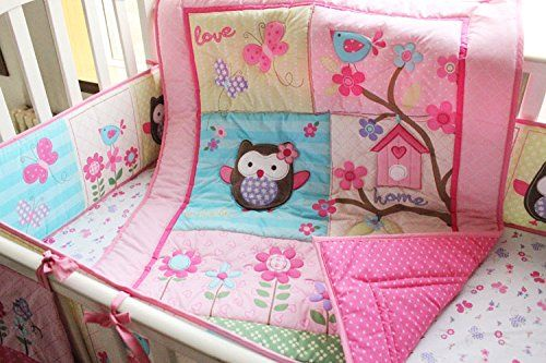 Pink Owl Bird 7pcs crib set Baby Bedding Set Crib Bedding Set Girl Boy Nursery Crib Bumper bedding -- Continue to the product at the image link.-It is an affiliate link to Amazon. #Bedding