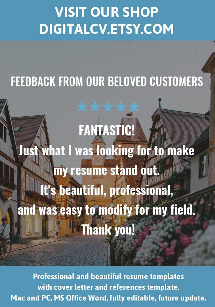 Feedback from our beloved customers Visit DigitalCVEtsy for - microsoft office resume templates for mac