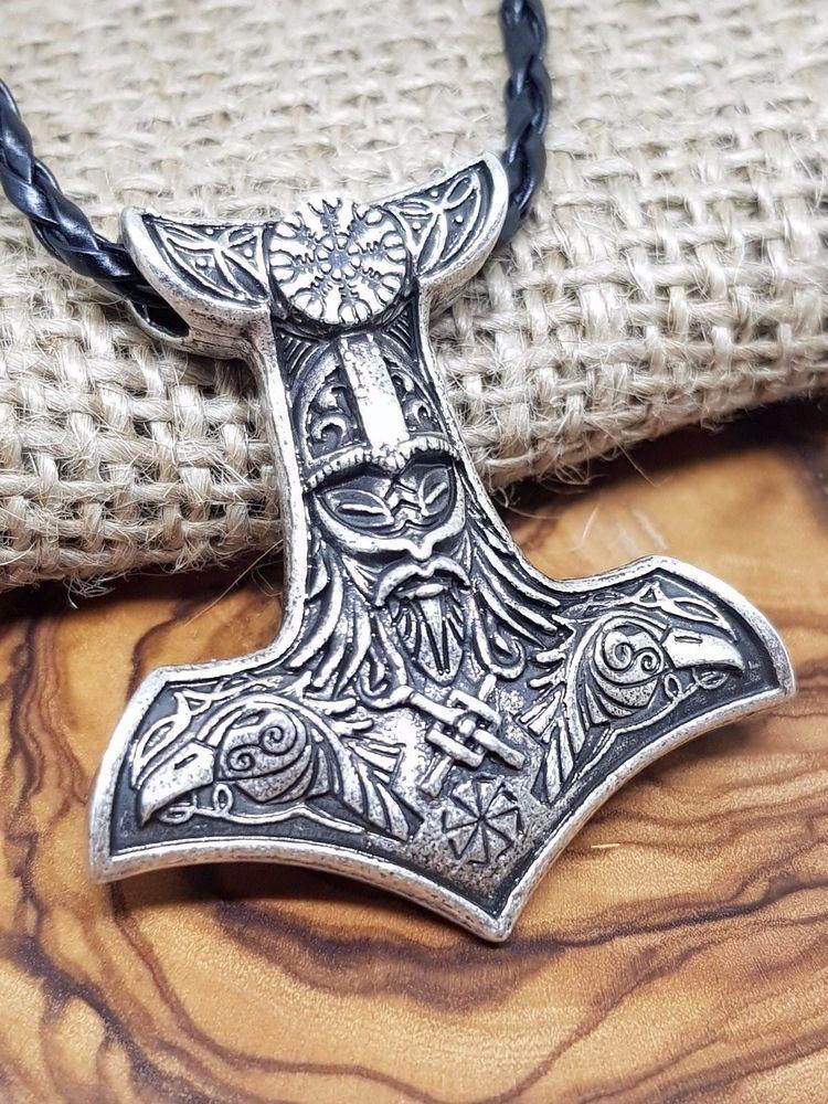 Details About Thor S Hammer Mjolnir Viking Pendant Ravens Sun