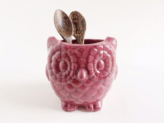 Purple Ceramic Owl Kitchen Decor Home Decor Owl Planter Etsy Colorful Kitchen Decor Owl Kitchen Owl Kitchen Decor