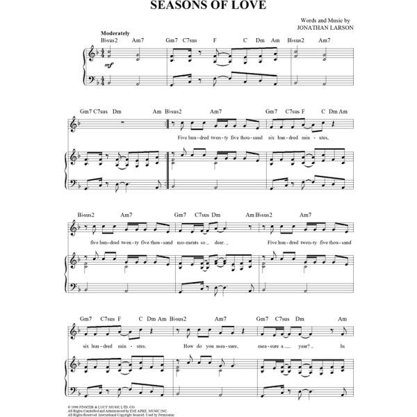 Seasons of Love Sheet Music - Jonathan Larson - 362988 |... ($4.95) ❤ liked on Polyvore featuring home, home decor, fillers, text, words, fillers., quotes and music sheet