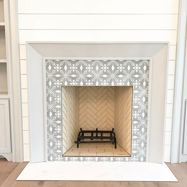 cement tile around a fireplace is