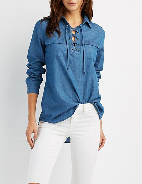 266e963571e0d Chambray Lace-Up Shirt at Charlotte Russe