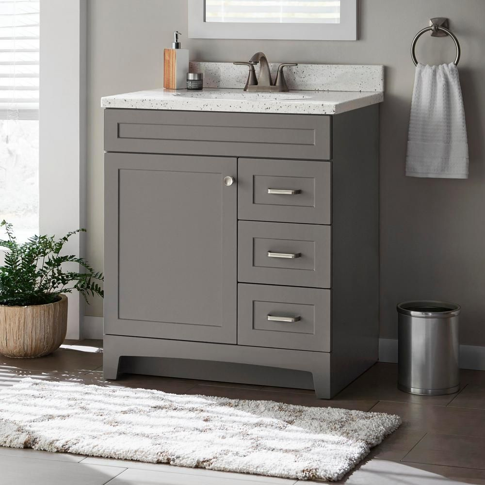 Home Decorators Collection Thornbriar 30 In W X 21 In D Bathroom Vanity Cabinet In Cement Tb3021 Ct The Home Depot Bathroom Vanities Without Tops 30 Inch Bathroom Vanity Small Bathroom Vanities