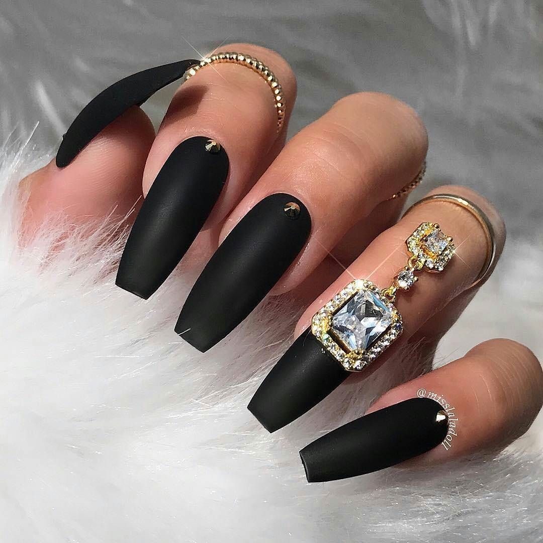 Black Nails - Black Color Nail Art Designs black nails, black long ...