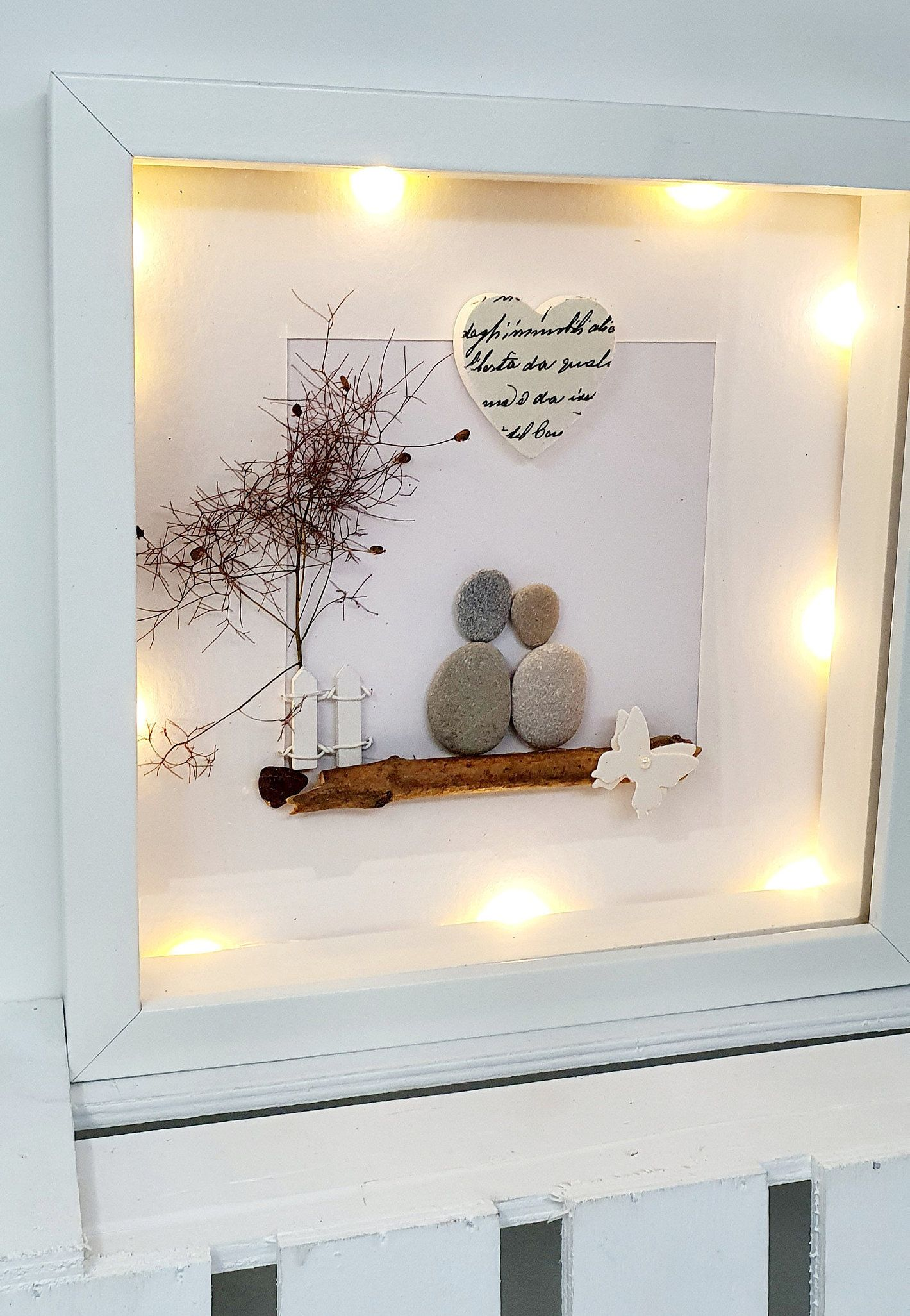 Gift Paper Wedding 1st Wedding Anniversary 1st Anniversary Family Picture Couple Pebble Picture Gift Idea Decoration Stone Picture Personalized Anniversary Pictures Diy Anniversary Gift Picture Gifts