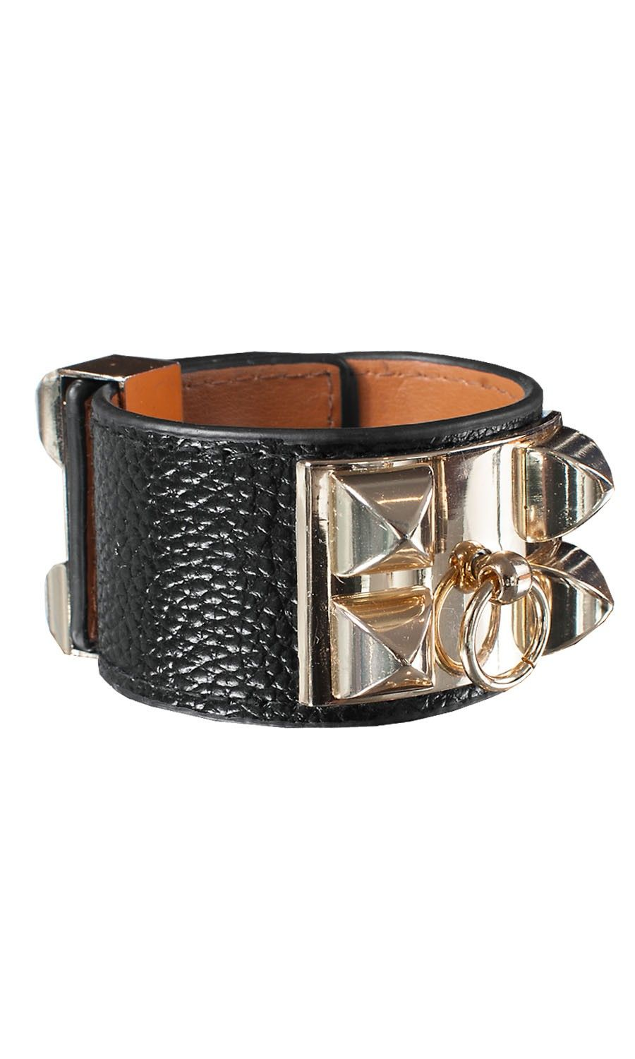 Big Gold Leather Black Bracelet from Ester Eleonora. Free shipping worldwide at www.isacouture.com #isacouture #estereleonora