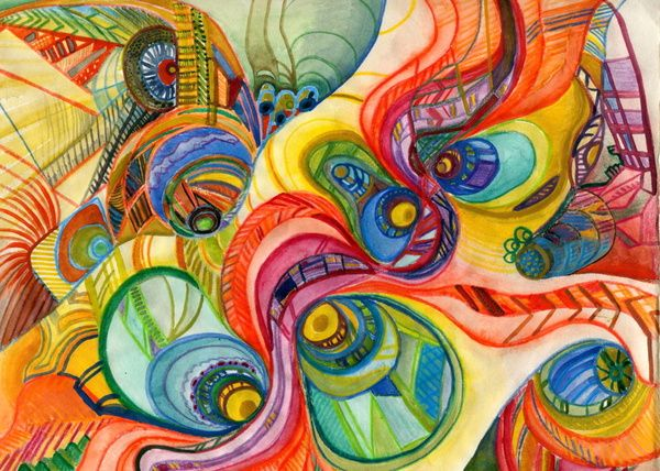 Abstract Colored Pencil Art Abstract Water Color And Colored