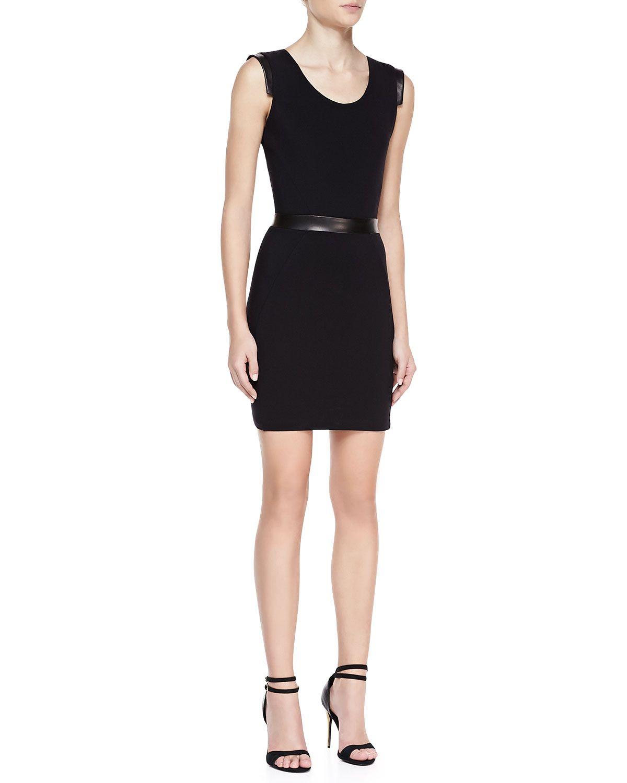 La Pina Dominique Sleeveless Cutout Back Dress, Black, Women's, Size: M, Blck/Blck Leather