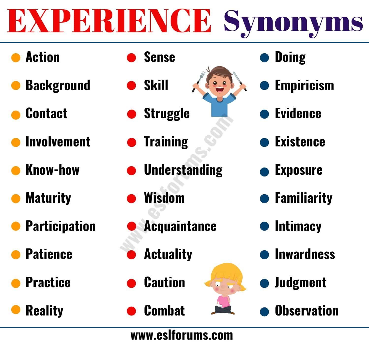 Experience Synonym 40 Useful Synonyms For Experience Esl Forums English Teaching Resources Understanding Exposure Words