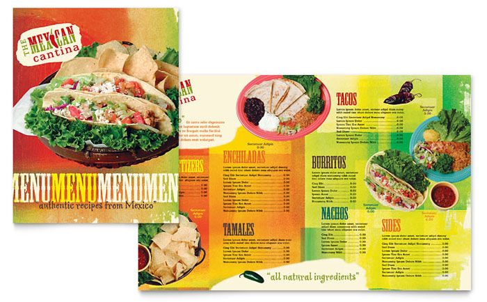 Mexican Restaurant Menu Design Template by StockLayouts carta - restaurant menu design templates