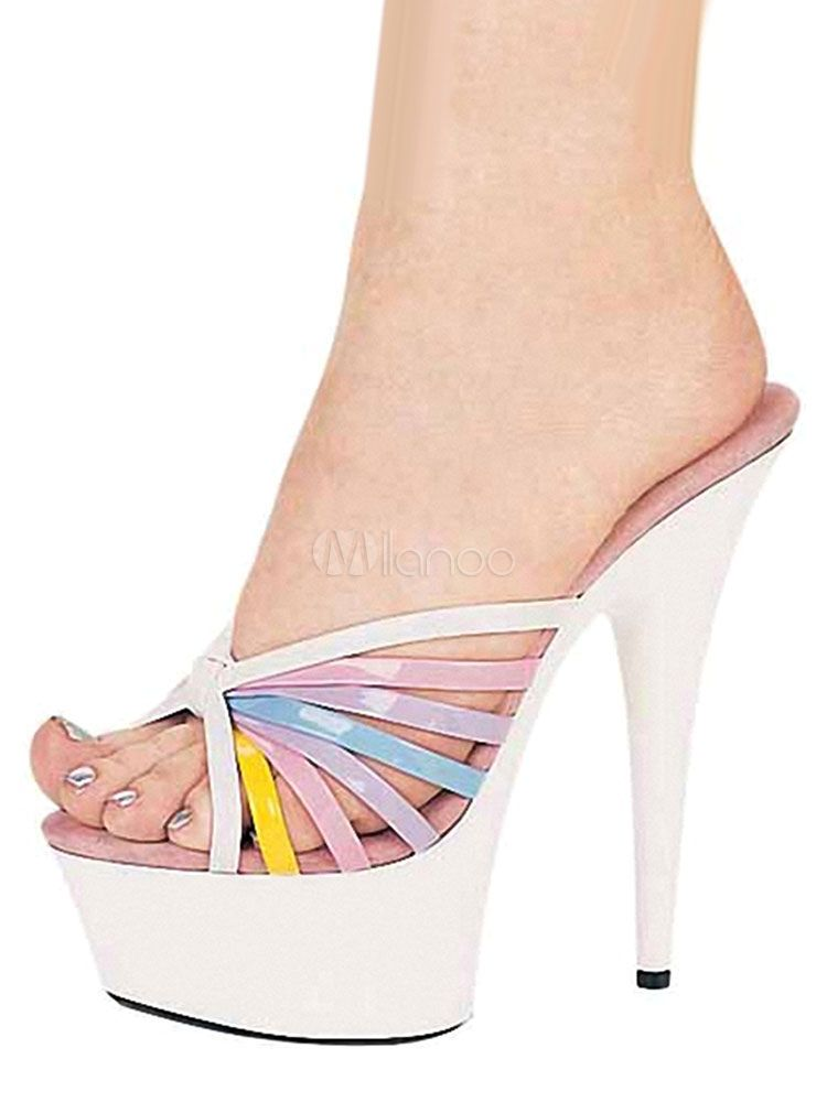 97d4b42976 White Women's Mules High Heel Platform Open Toe Color Block Stiletto  Slippers