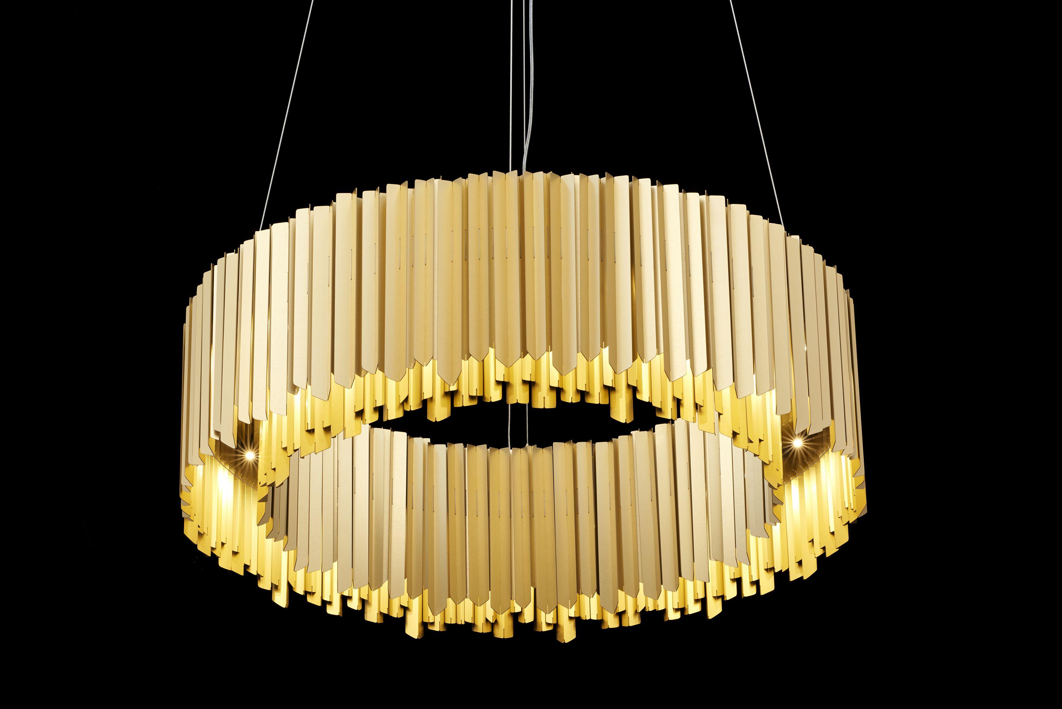 Facet Chandelier In Satin Gold #Anodisedaluminium #Lighting #Chandelier #Custom #Bespoke