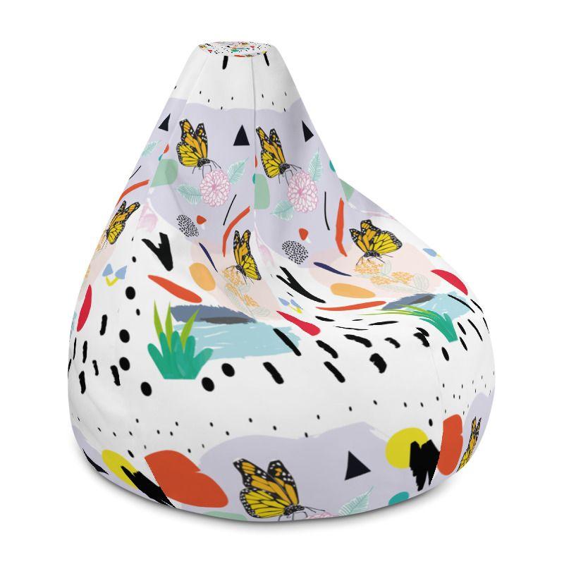 Terrific All Over Print Bean Bag Chair W Filling Mockup Generator Machost Co Dining Chair Design Ideas Machostcouk