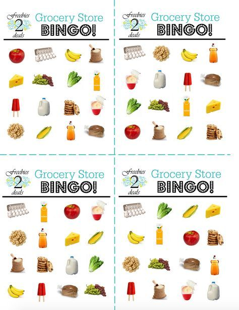 Free Grocery Store Bingo Game Cards | ABC Work | Pinterest