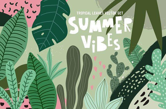 Tropical Leaves, pattern, prints by Barkova Nadya on @creativemarket #tropicalpattern