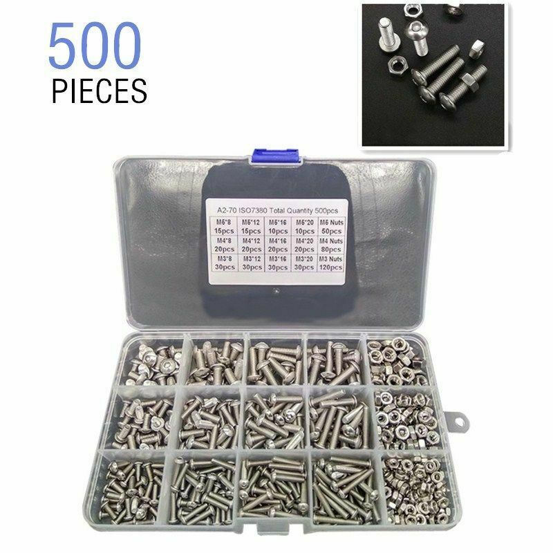 Button Head Hilitchi 500-Piece M2 M3 Hex Socket Button Head Cap Bolts Screws Nuts Assortment Kit