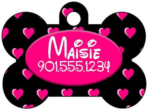 Disney Themed Hearts Pet Id Tag for Dogs  Cats Personalized w Your Pets Name  Number Black  Pink ** Visit the image link more details. Note:It is affiliate link to Amazon.