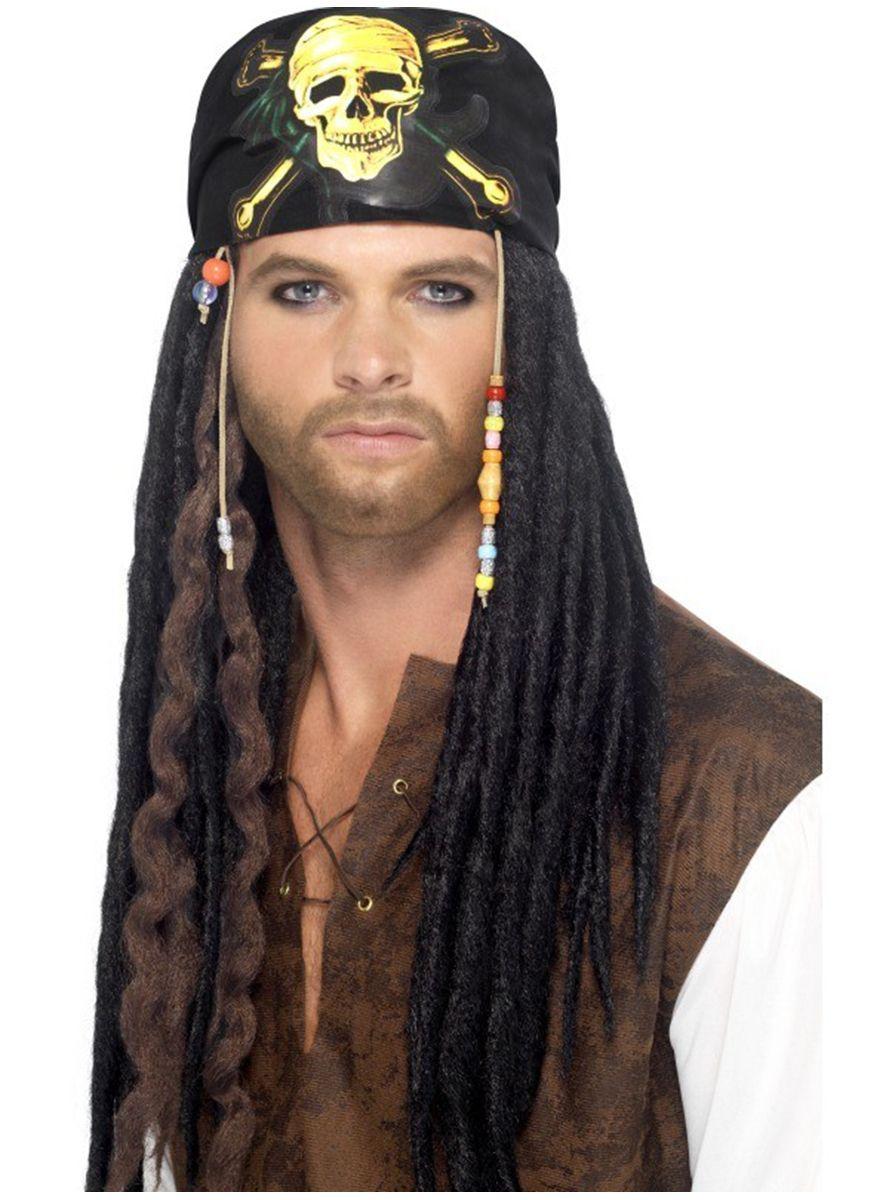 Peluca de pirata con rastas para hombre  2337d400f98