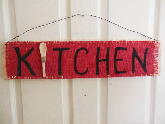 Decorative Wooden Kitchen Signs Amusing Decorative Red Burlap Wood Kitchen Sign 4 Hooks Forsunnifinds Inspiration