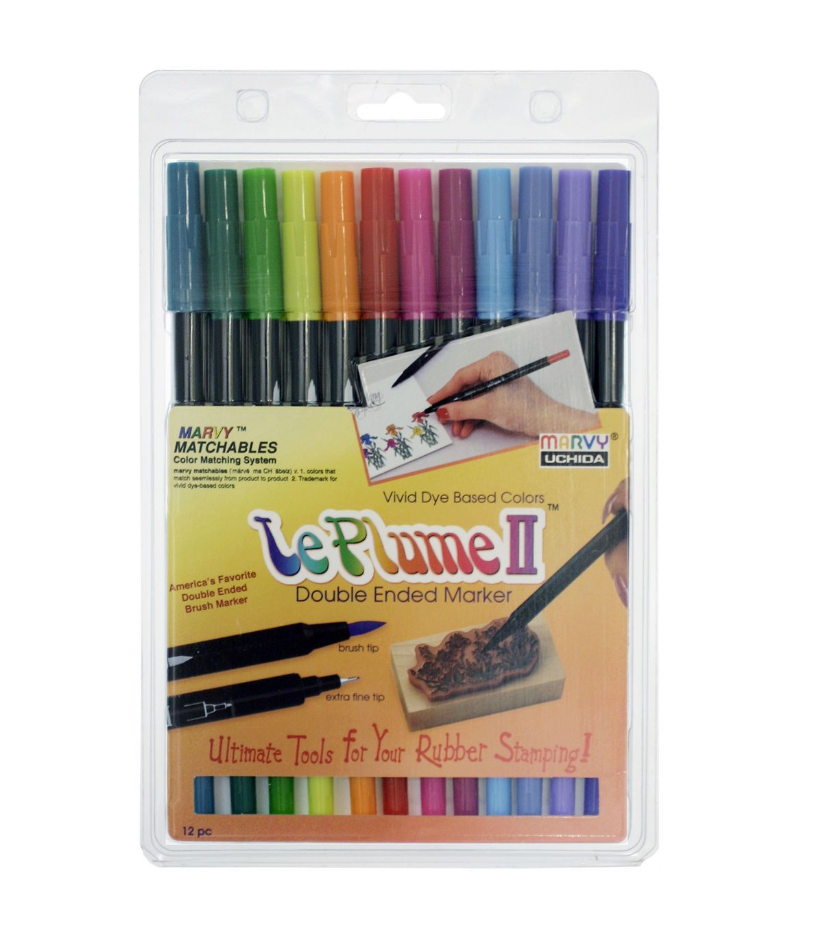 Marvy Uchida Le Plume Ii Pack Of 12 Watercolor Marker Set Bright