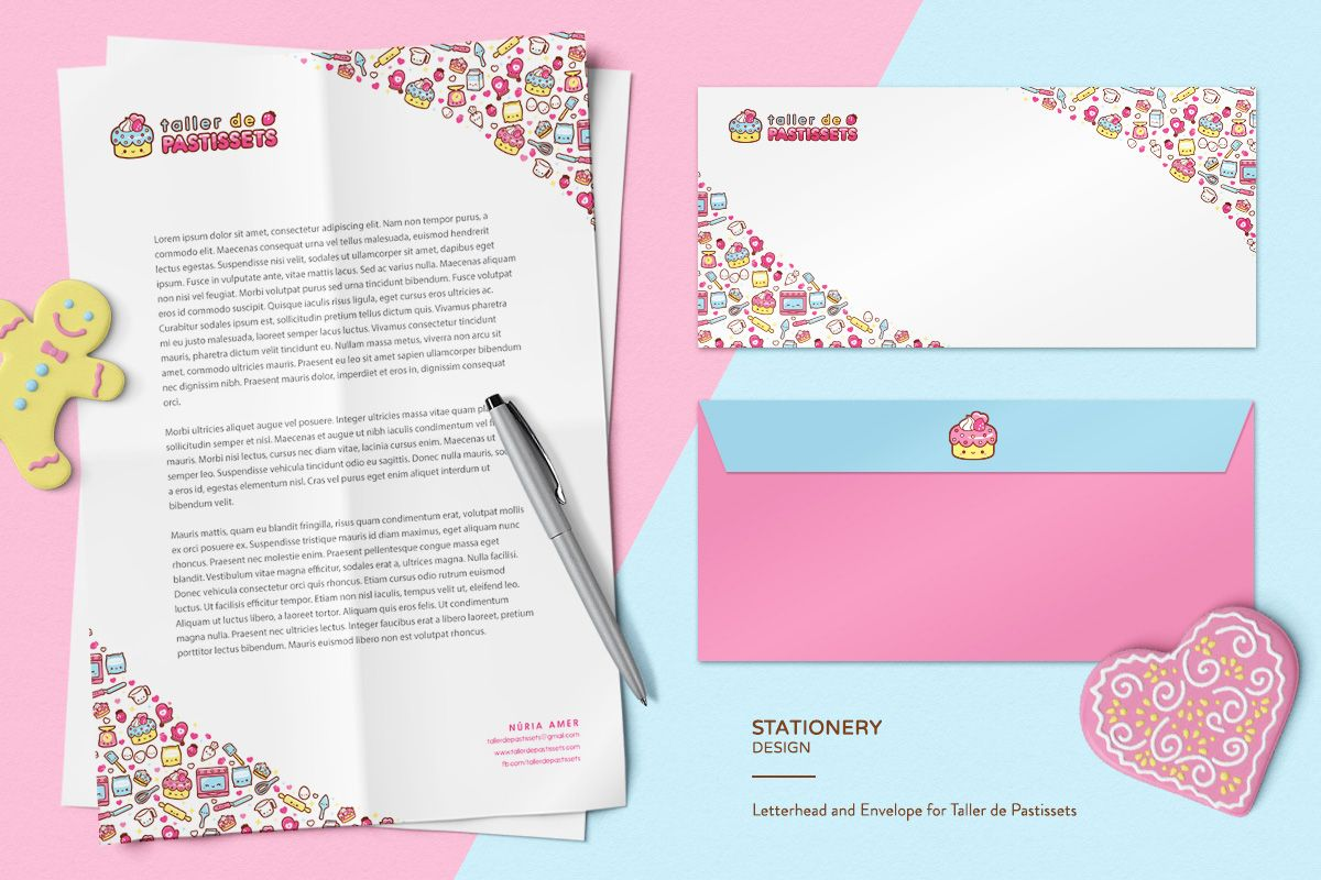 A cute cake and baking-themed branding package with logo, mascot ...