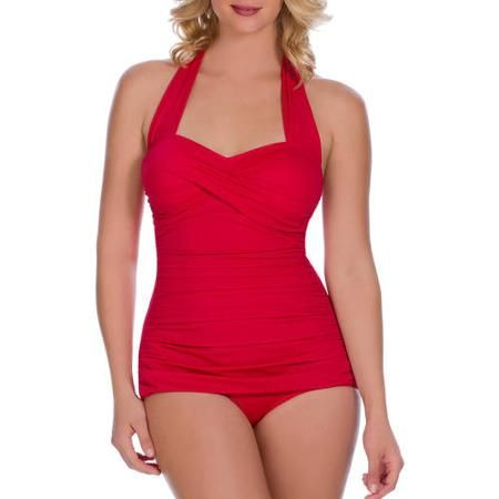 c59fab737e Suddenly Slim By Catalina Women's Slimming Shirred Halter One-Piece  Swimsuit - Walmart.com