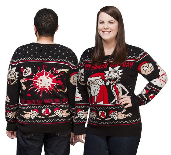 Rick And Morty Christmas Sweater.Rick And Morty Ugly Sweater Giant Naked Sky Santa Has