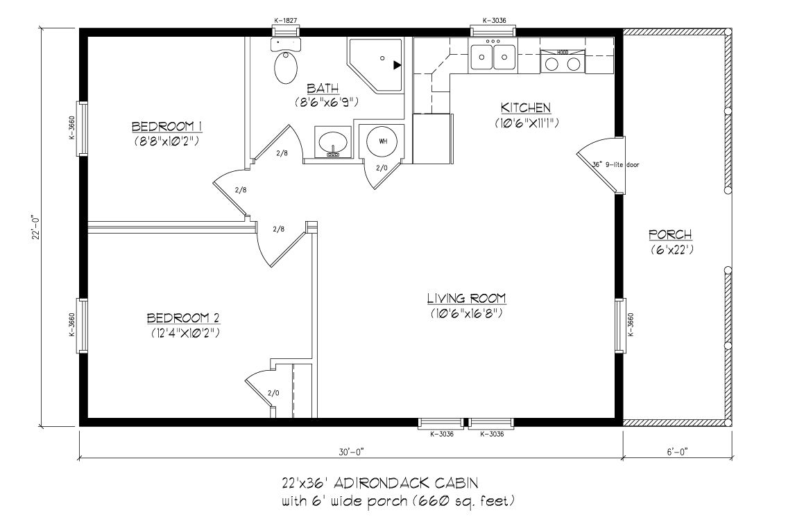 22x36 adirondack cabin wood tex modular cabin floor for Adirondack floor plans