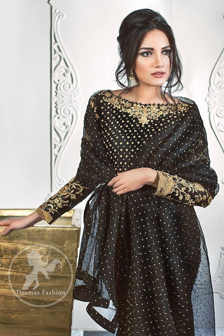 Shirt design with palazzo - Stylish Black Party Wear Short Shirt Palazzo Pants Jamawar Dupatta