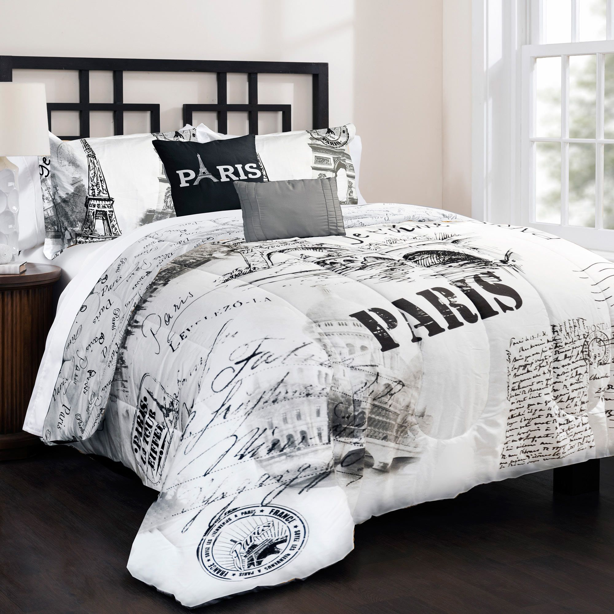 Eiffelturm Bettwäsche 3 Piece Paris Comforter Set Black White In Color Haizen