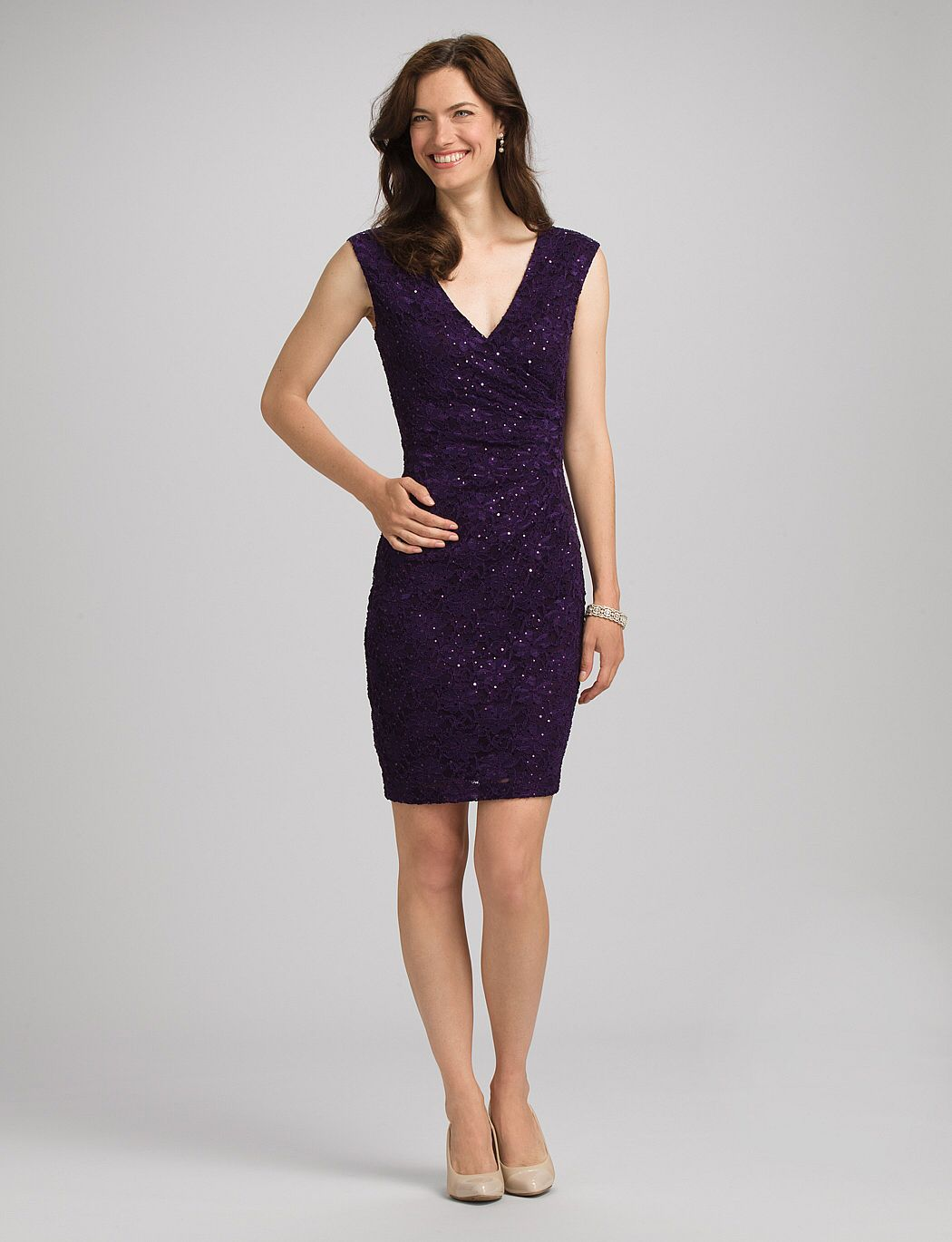 Shimmer lace sheath dress in Eggplant from DressBarn. I bought in a ...
