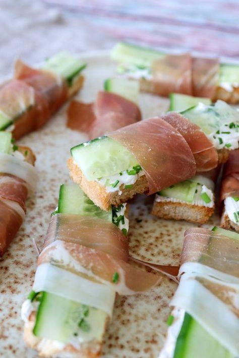 Sprøde Lækre Brødstænger Med Agurk, Flødeost Og Parmaskinke #nytårbordpynt