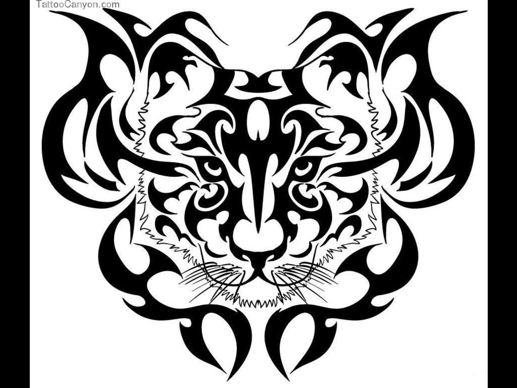 Black Ink Tribal And Tiger Head Tattoo Design