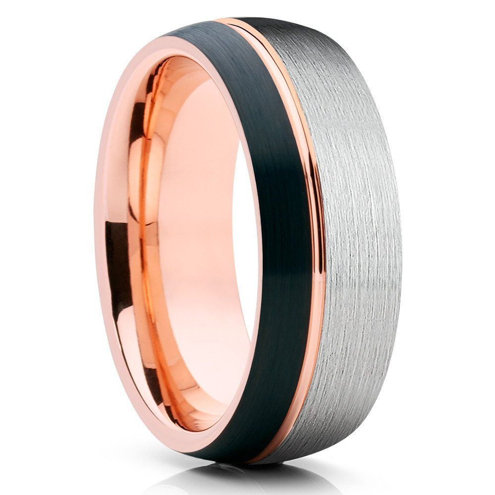 It is a picture of Rose Gold Tungsten Wedding Band - Black Tungsten - Rose Gold Ring