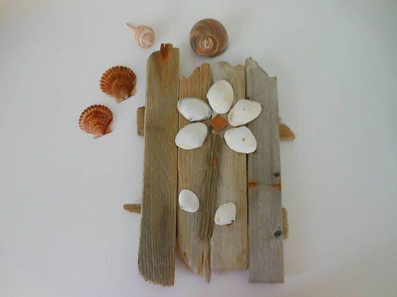 White Clam Shell And Driftwood Wall Art Flower Beach Decor