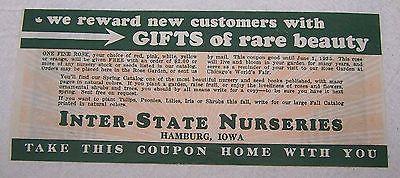 1933 Inter State Nurseries Hamburg Iowa Coupon World's Fair Century of Progress | eBay