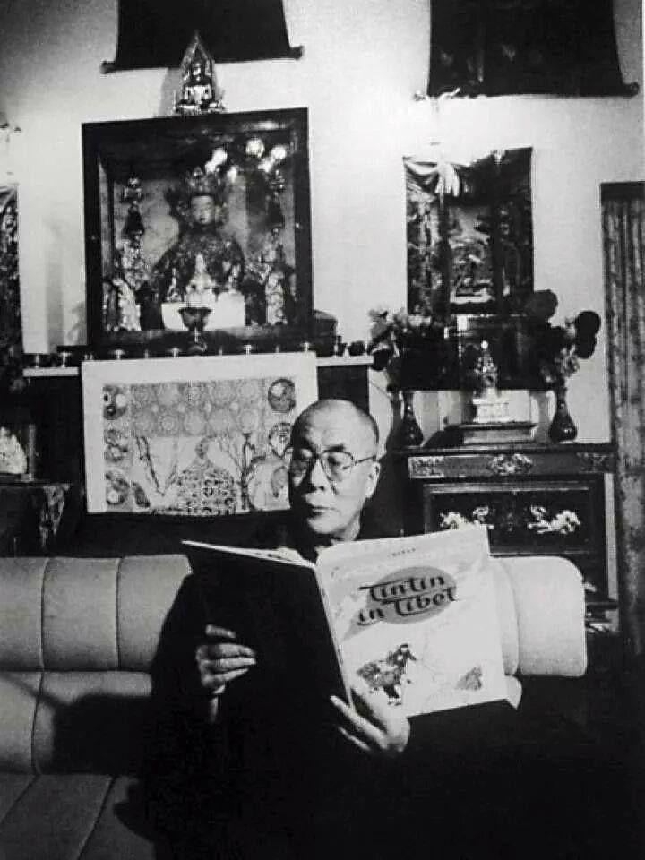 Hh dalai lama reading tintin in tibet with images kirjat