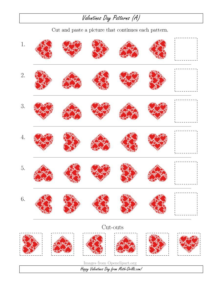 The Valentines Day Picture Patterns With Rotation Attribute Only A Math Worksheet From The Valentines Day Math Wor Valentines Day Pictures Valentines Pattern
