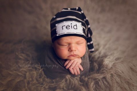 Personalized newborn hat in black and gray. Perfect for hospital and newborn  photos. Great for baby announcements. Newborn size only. ef3961e3a5b7