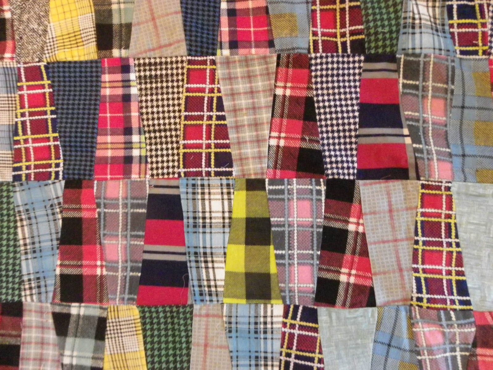Multi Color Plaid Patchwork Quilt Top