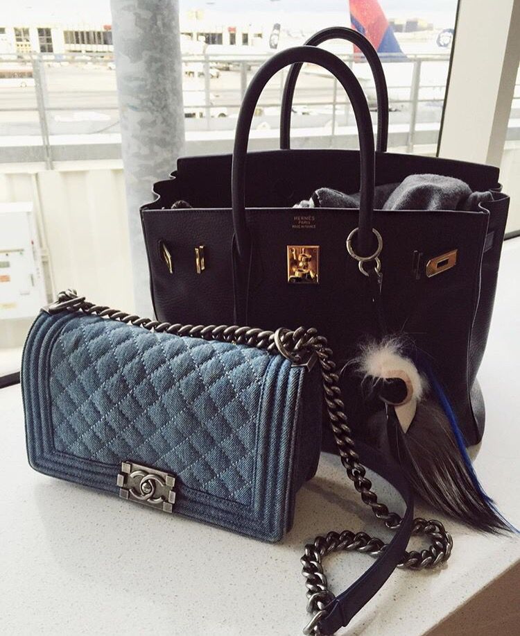d9d796a9ed3 Chiara Ferragni's amazing bags - CHANEL denim boy bag and Hermes Birkin  with Fendi Karlito charm