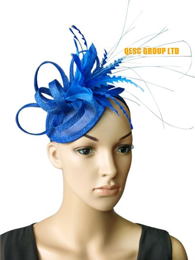 NEW Royal blue sinamay feather fascinator bridal fascinator hair accessory  for Kentucky derby and wedding .FREE SHIPPING(China (Mainland)) d5322d098c5