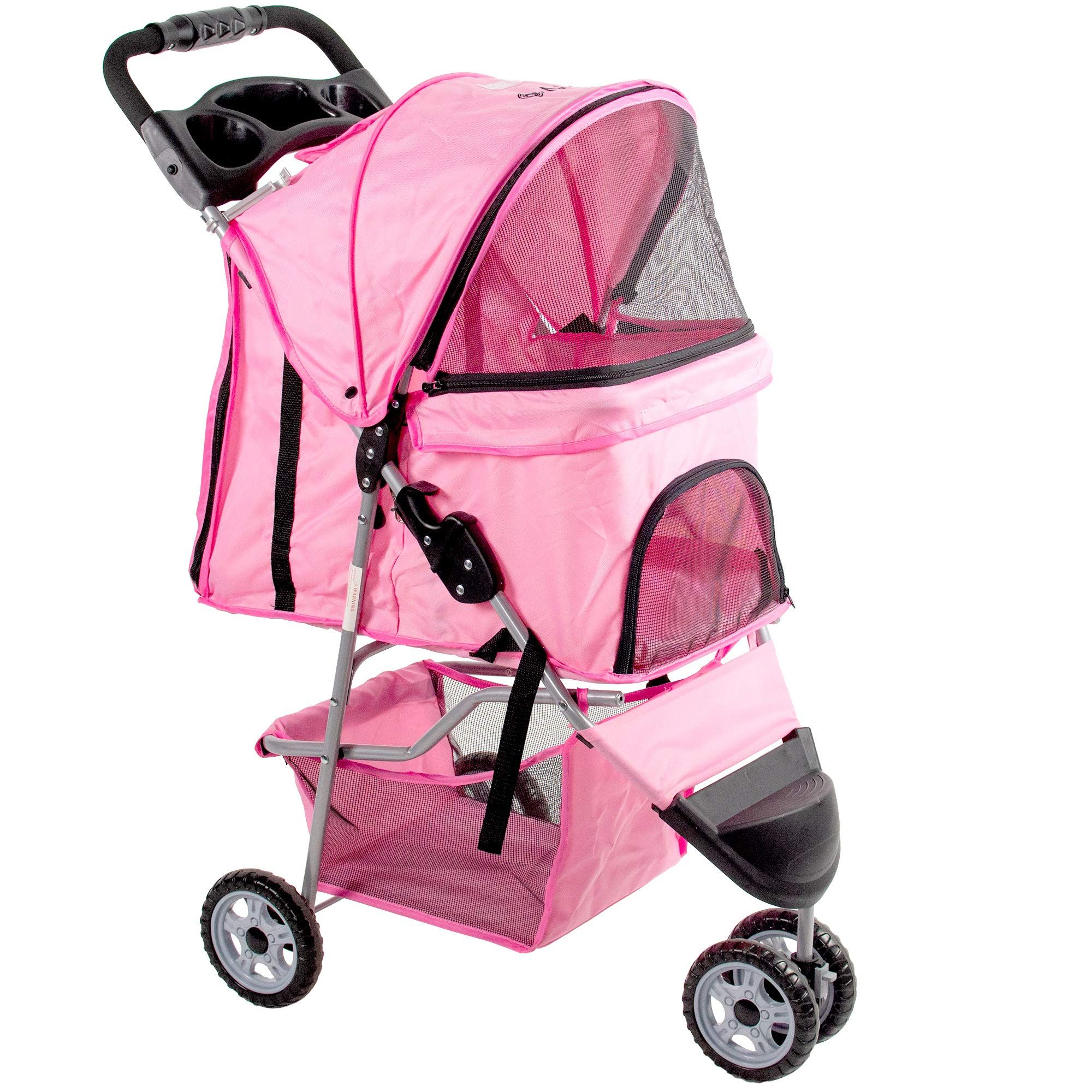 VIVO Pink 3 Wheel Pet Stroller for Cat * You can get more