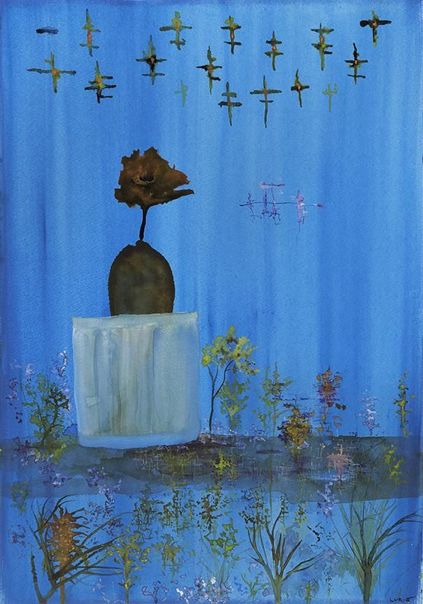 """John Lurie ※""""After they hatch, the Egg People on Twitter, live in glasses of water until they are old enough to fly."""""""