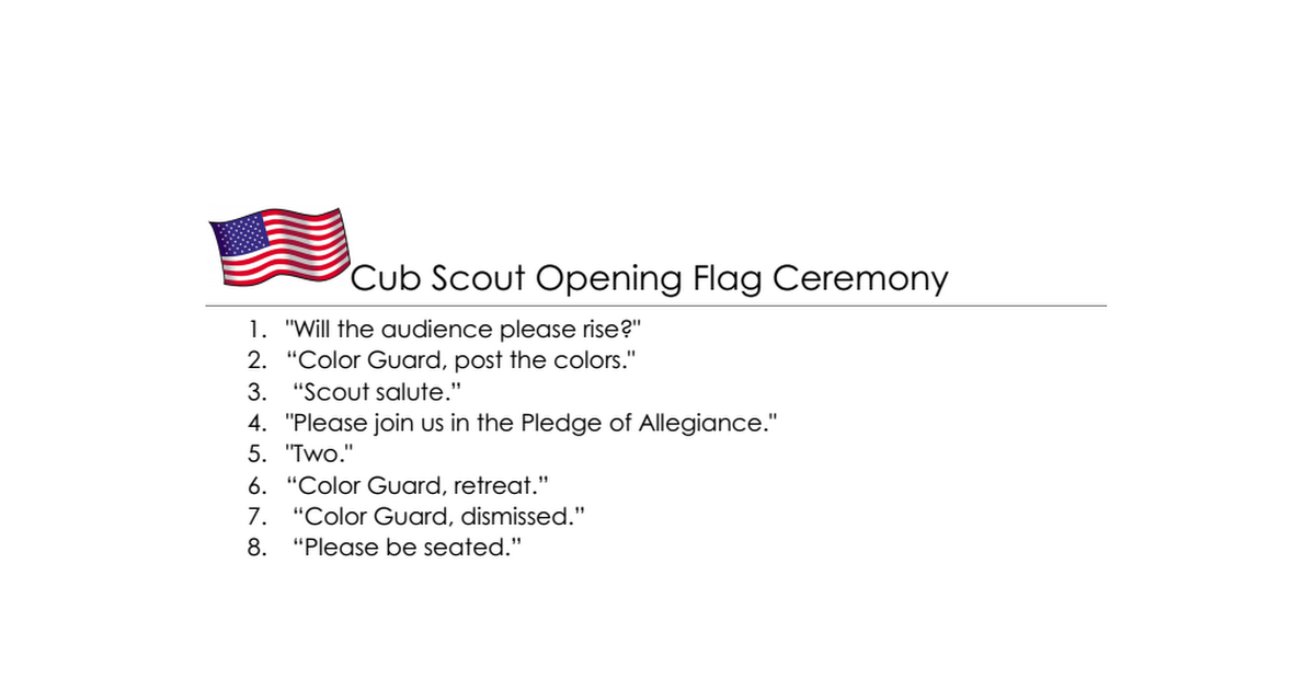 photograph about Cub Scout Flag Ceremony Printable named Pin upon Cub Scouts