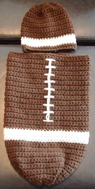 Football Baby Cocoon by KellysKrazyKrafts on Etsy, $35.00   Szydełko ...