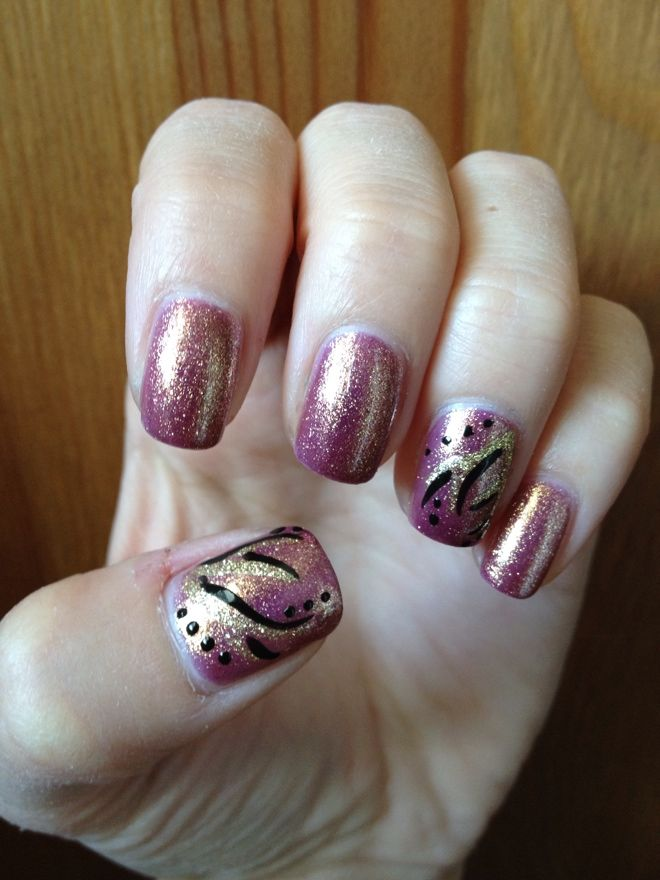 Pink and Gold Shimmer Mani with Gold and Black Designs